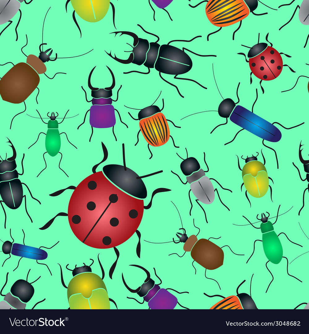 Color bugs and beetles green seamless pattern vector | Price: 1 Credit (USD $1)