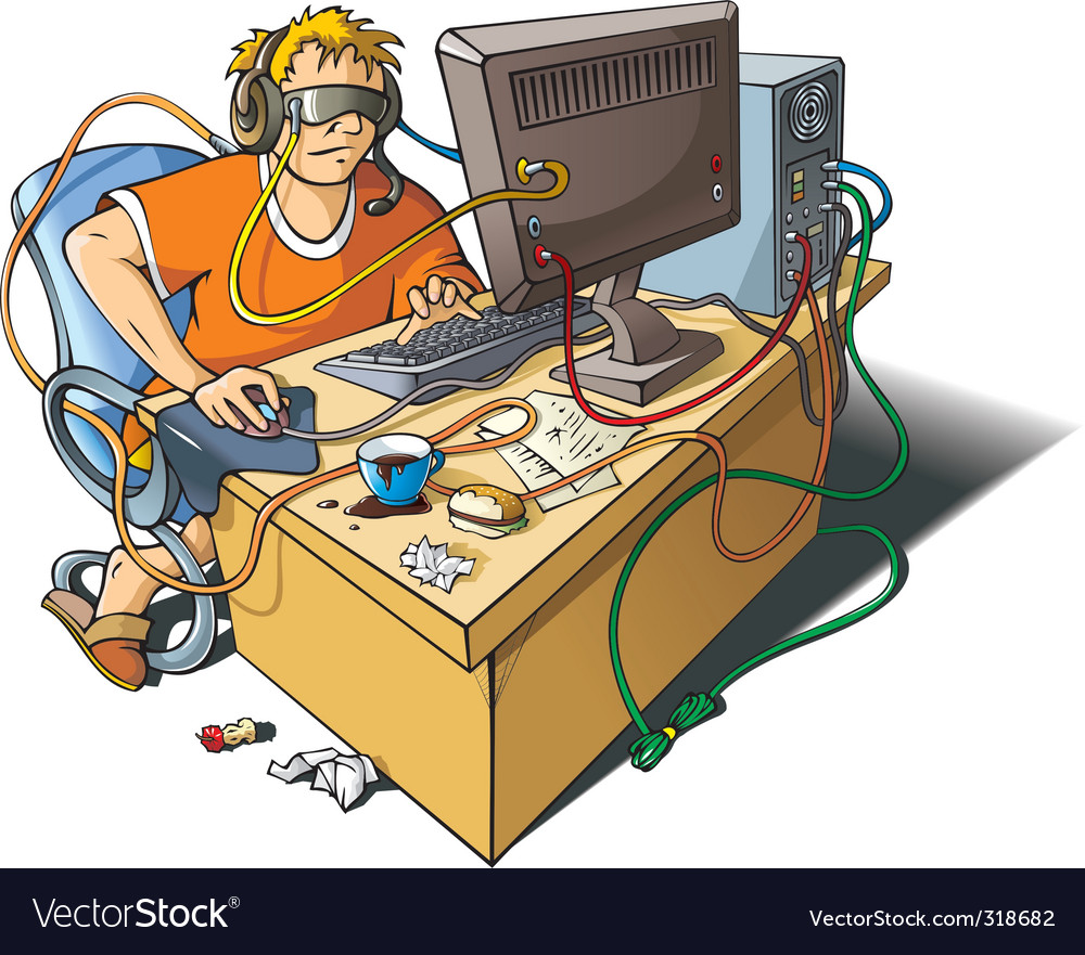 Computer addiction vector | Price: 3 Credit (USD $3)