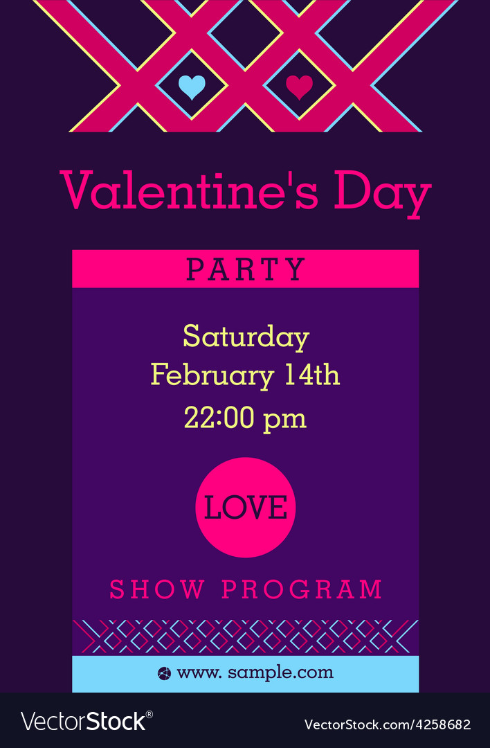 Flyer invitation to a party valentine day vector | Price: 1 Credit (USD $1)