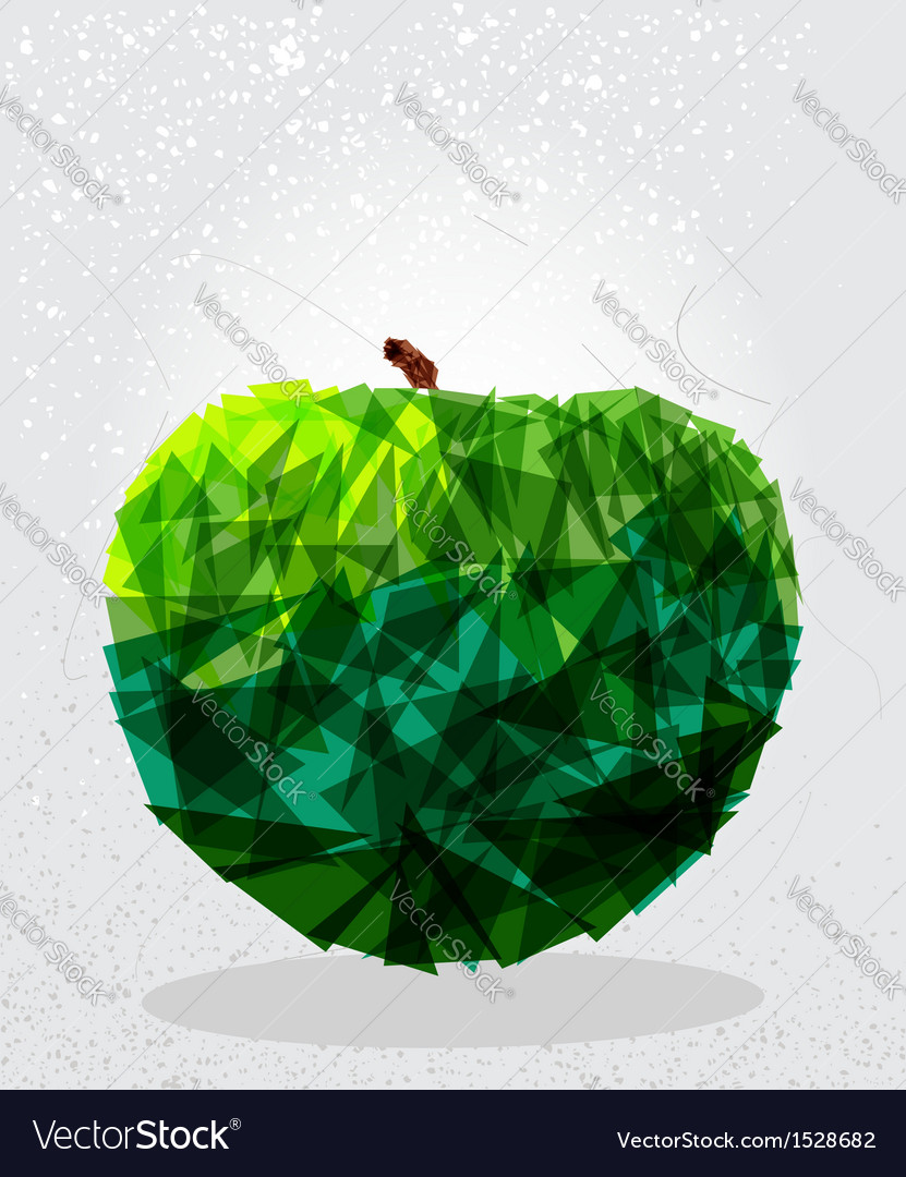 Green apple geometric shape vector | Price: 1 Credit (USD $1)