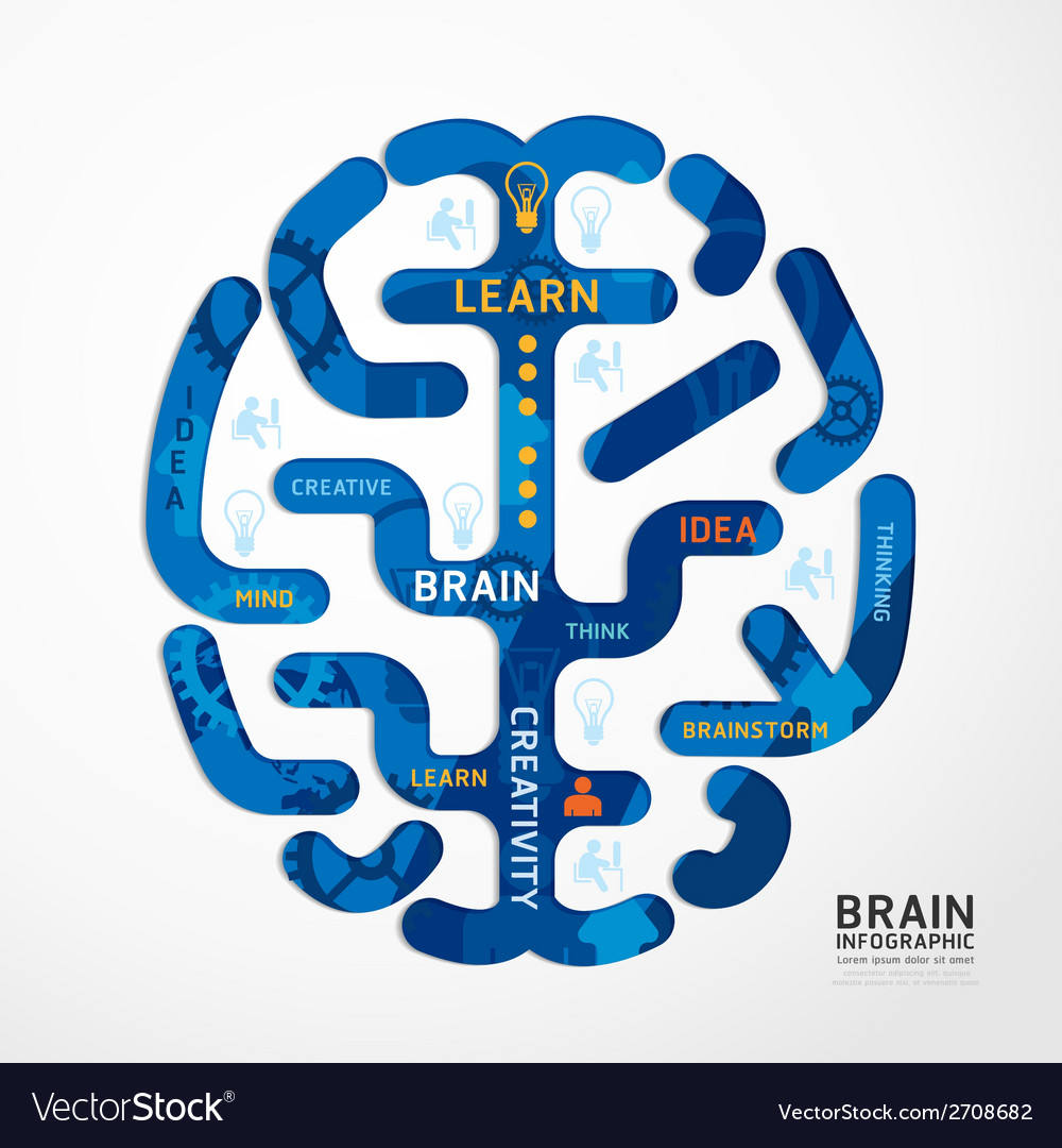 Infographics brain colour design diagram vector | Price: 1 Credit (USD $1)