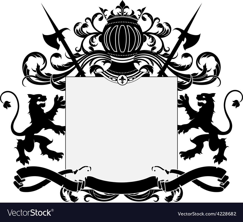 Ornate heraldic frame vector   Price: 3 Credit (USD $3)