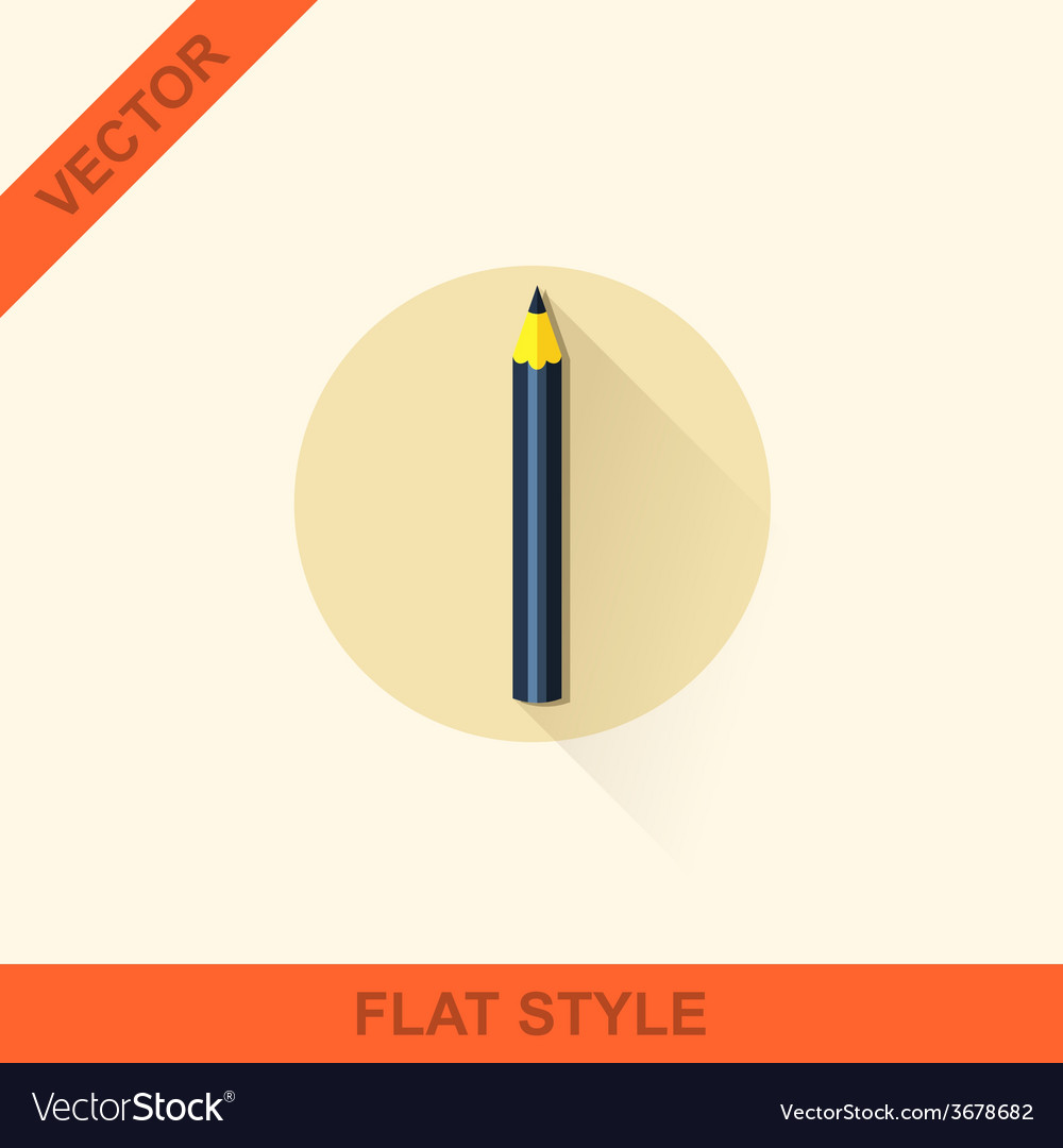 Pencil icon in a flat style with shadow vector | Price: 1 Credit (USD $1)