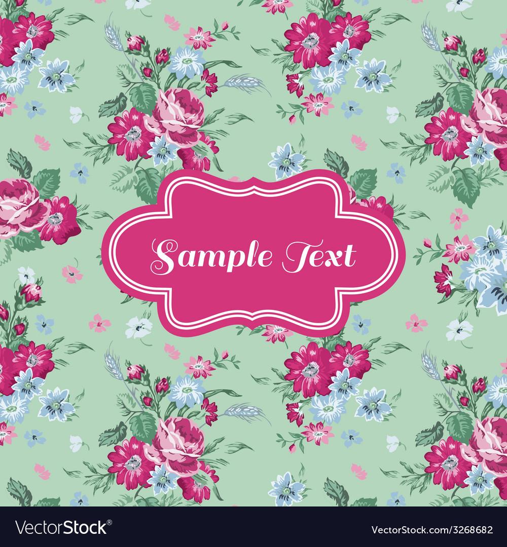 Retro flower card vector | Price: 1 Credit (USD $1)