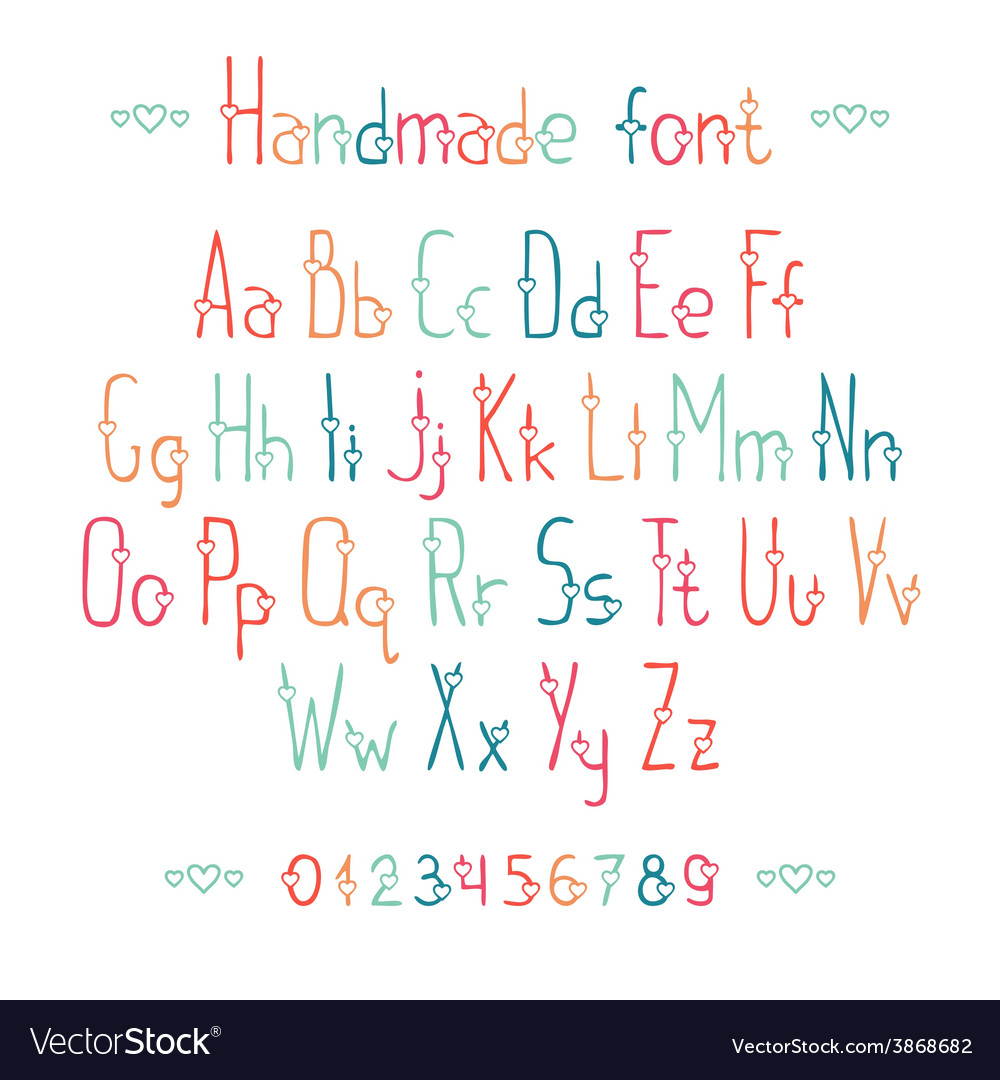 Simple romantic hand drawn font with hearts vector   Price: 1 Credit (USD $1)