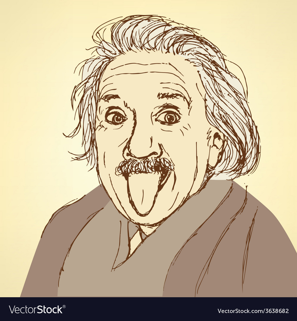 Sketch albert einstein in vintage style vector | Price: 1 Credit (USD $1)