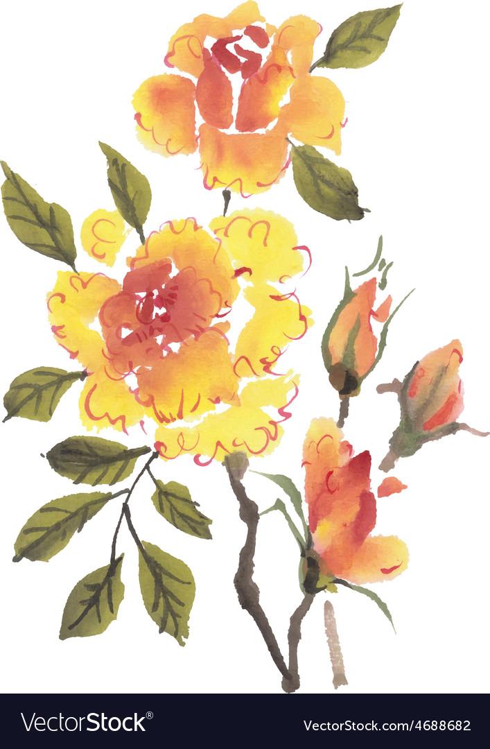 Watercolor flowers roses vector | Price: 1 Credit (USD $1)