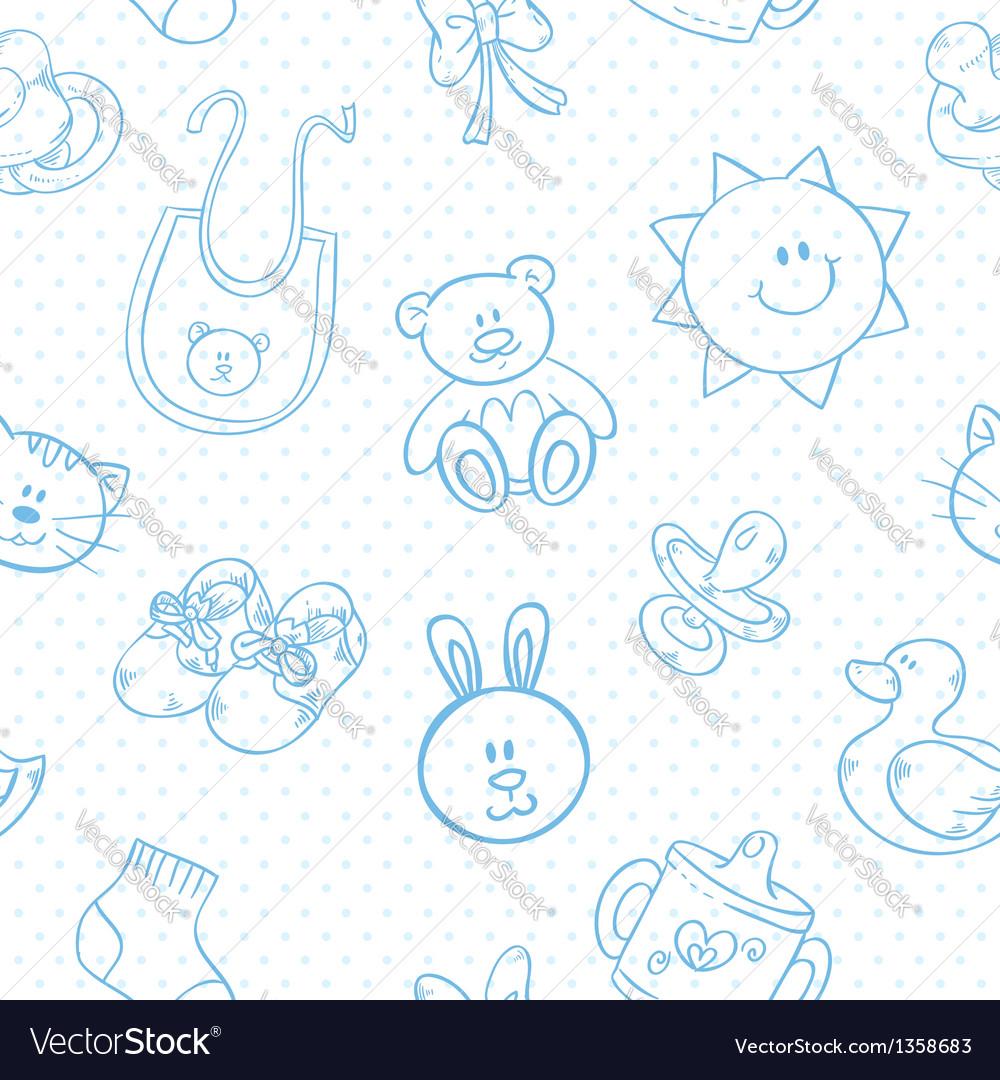 Baby toys cute cartoon set seamless pattern vector | Price: 1 Credit (USD $1)