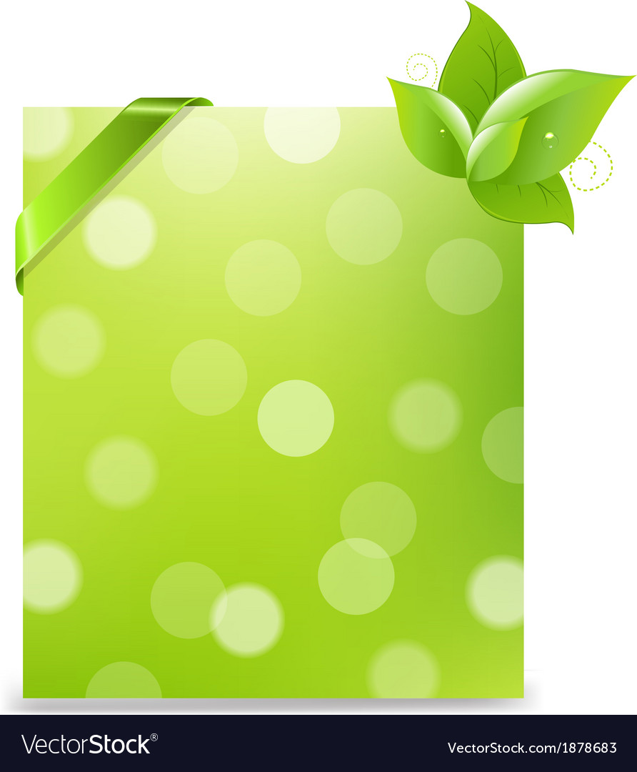 Banner with ribbon and bokeh and leaves vector | Price: 1 Credit (USD $1)