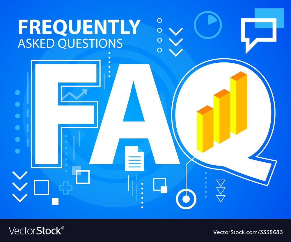 Bright faq and bar chart on blue background vector | Price: 3 Credit (USD $3)
