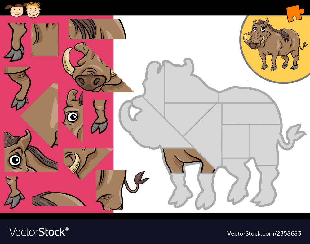 Cartoon warthog jigsaw puzzle game vector | Price: 1 Credit (USD $1)