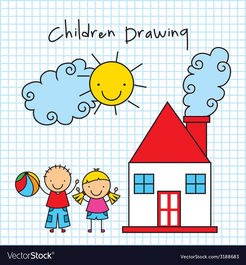Children drawing design vector | Price: 1 Credit (USD $1)