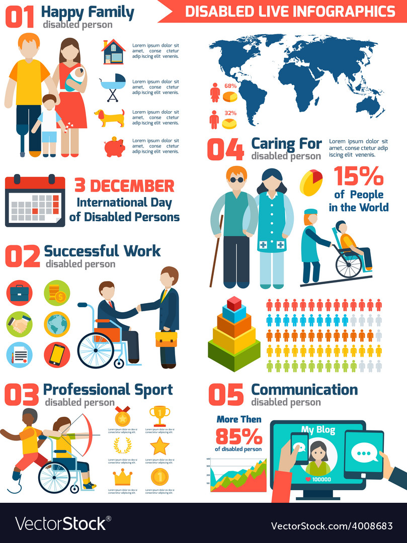 Disabled infographics set vector | Price: 1 Credit (USD $1)