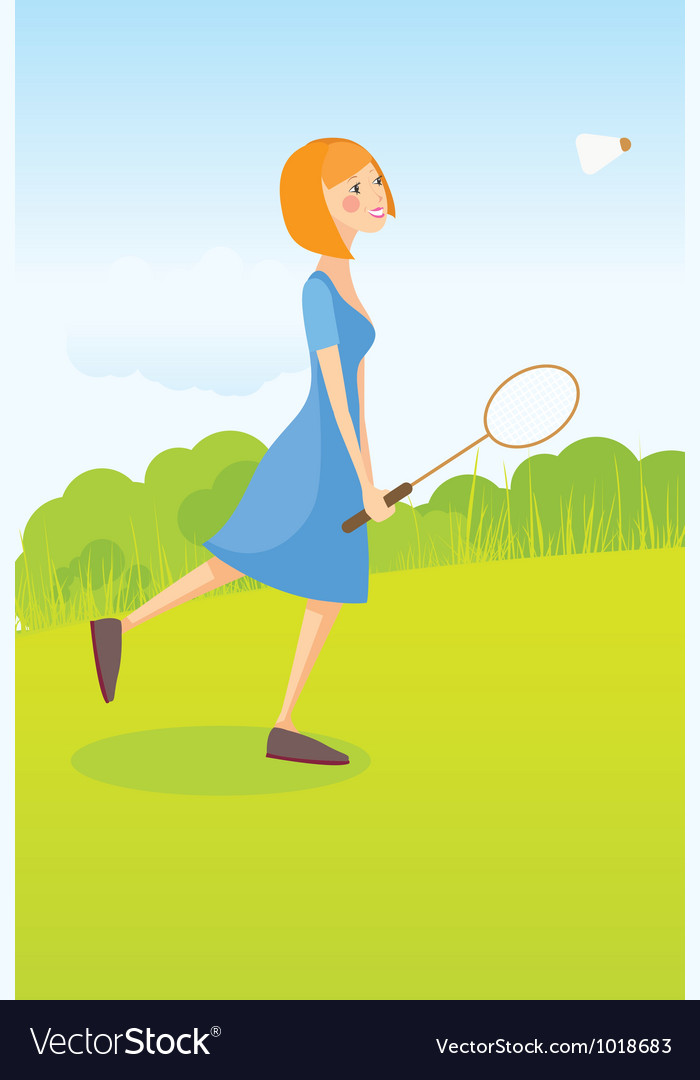 Girl playing badminton vector | Price: 1 Credit (USD $1)