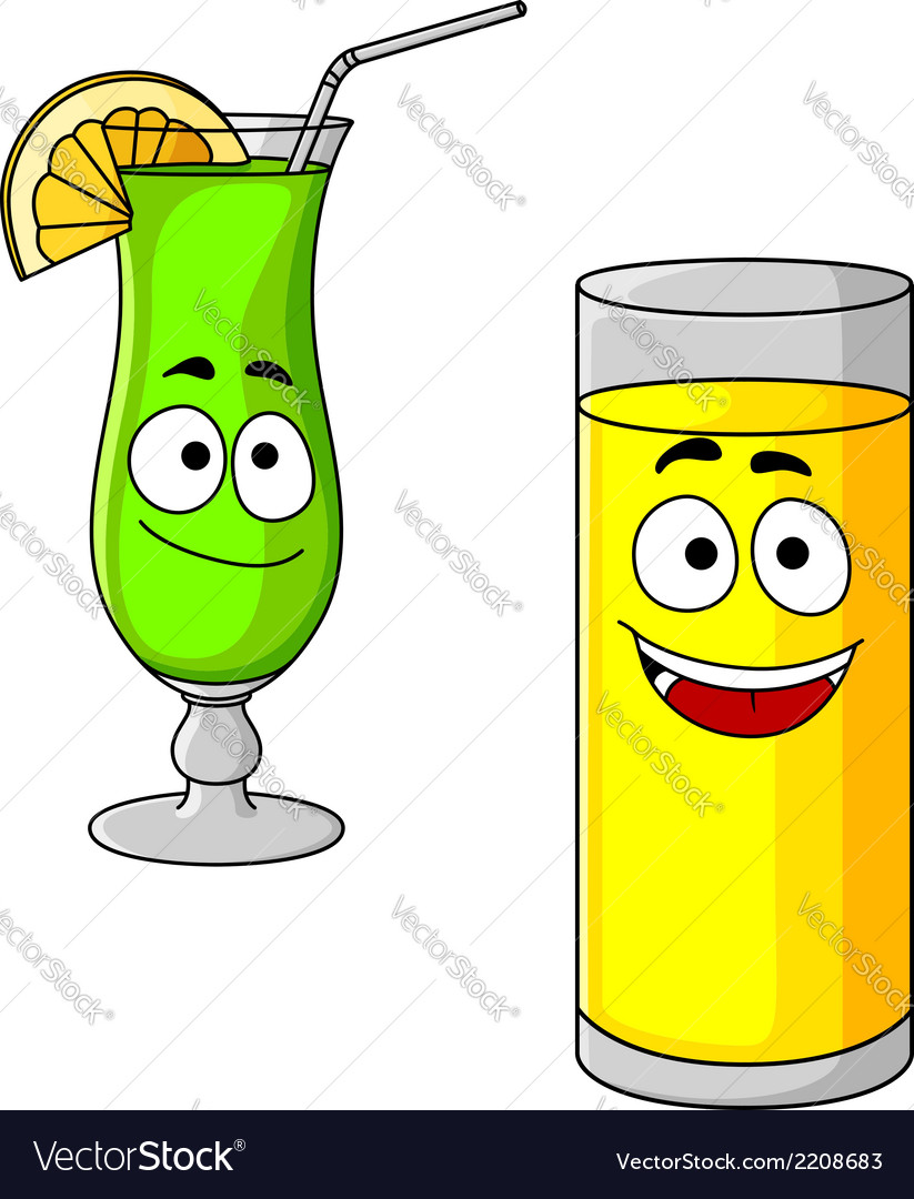 Happy cartoon glasses of fruit juice and cocktail vector | Price: 1 Credit (USD $1)