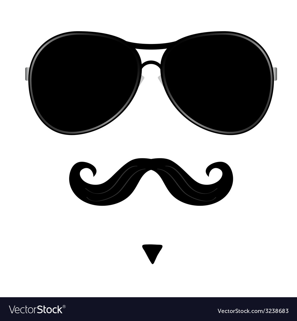 Mustache and glasses on face vector | Price: 1 Credit (USD $1)