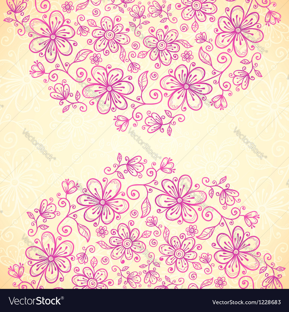 Pink doodle vintage flowers circles background vector | Price: 1 Credit (USD $1)