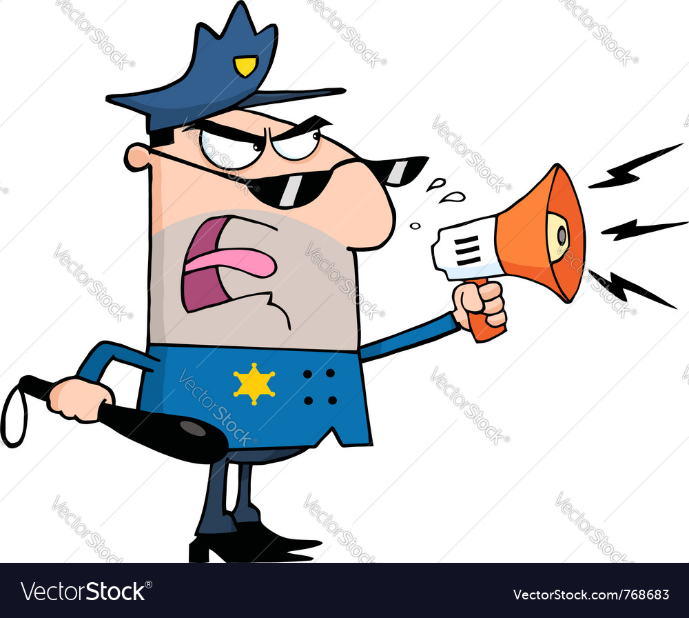 Police officer shouting through a megaphone vector | Price: 1 Credit (USD $1)
