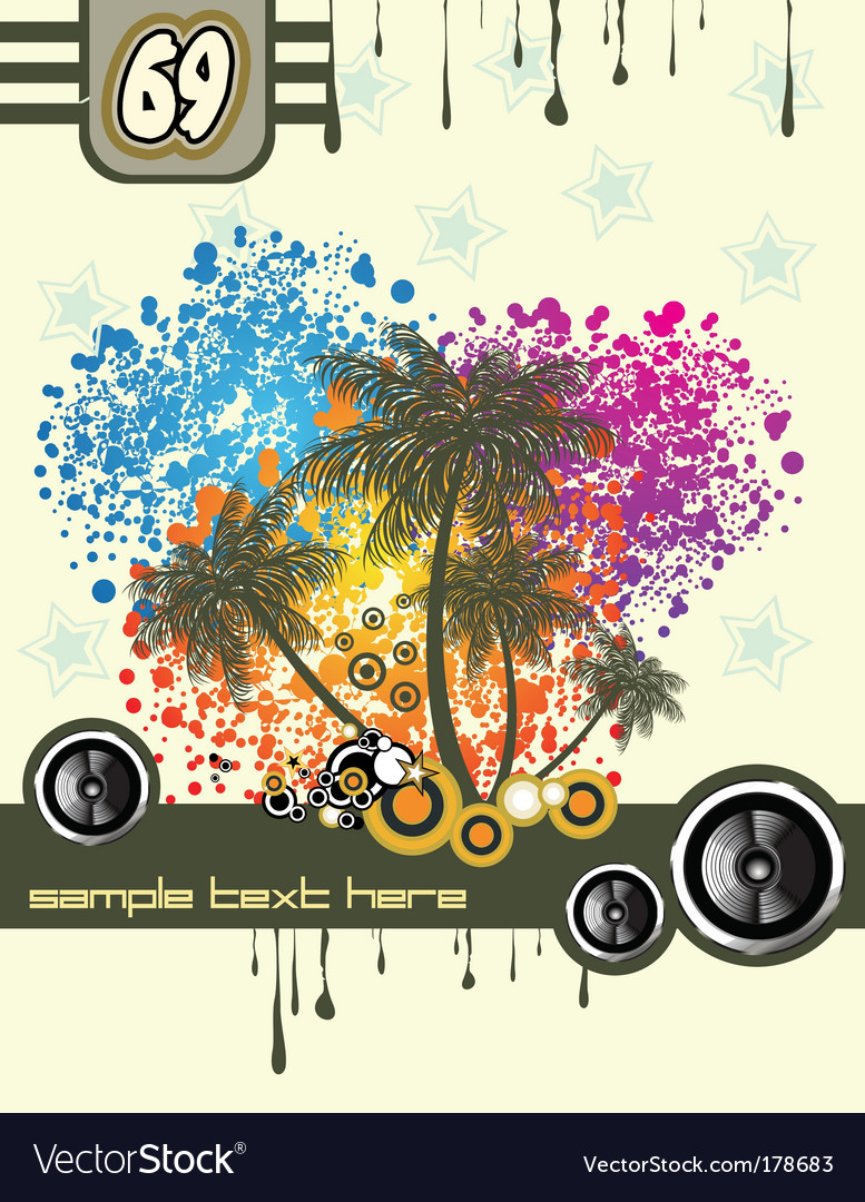 Tropical music disco flyer vector | Price: 3 Credit (USD $3)