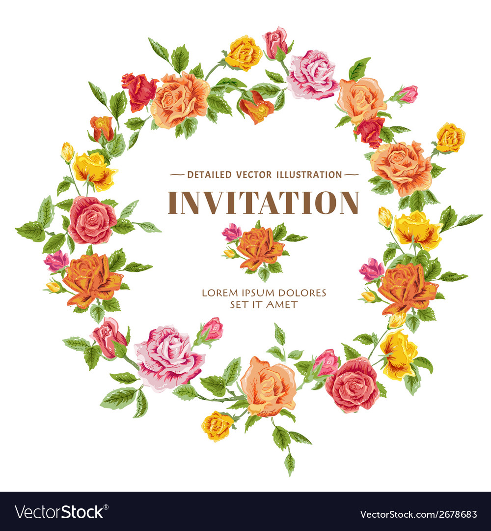 Vintage roses frame card vector | Price: 1 Credit (USD $1)