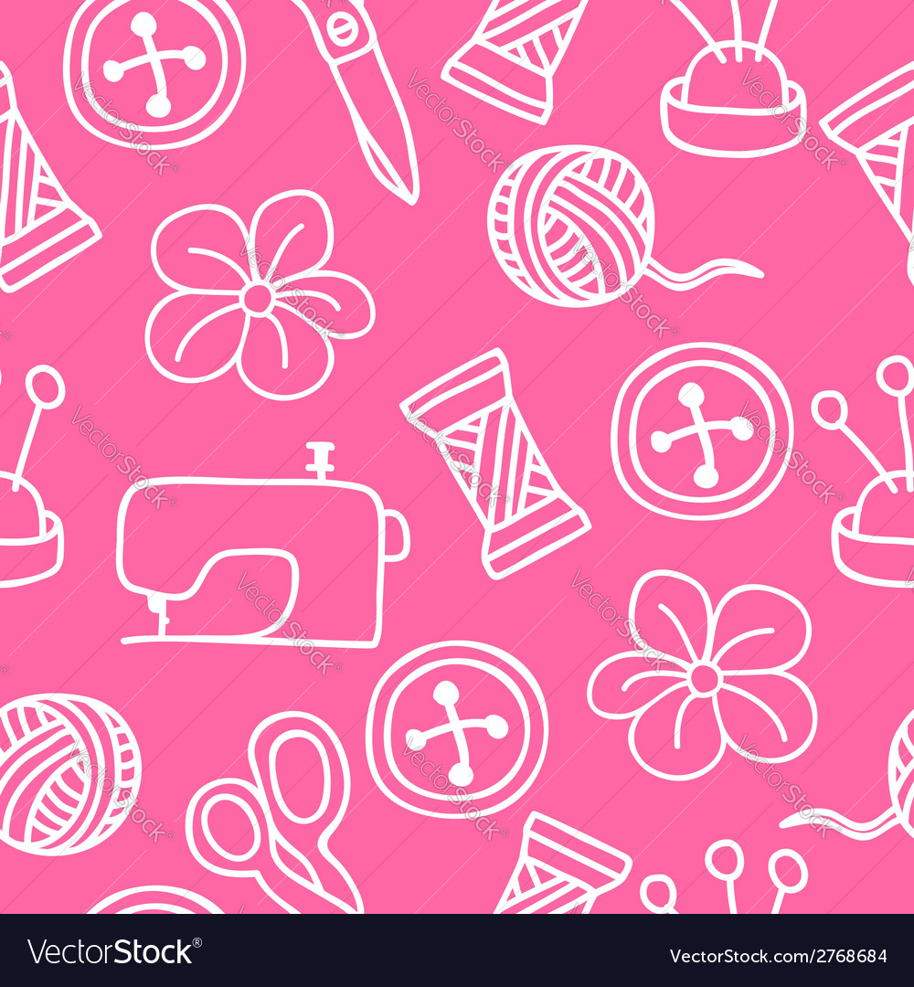Cartoon hand drawn seamless pattern with sewing vector   Price: 1 Credit (USD $1)