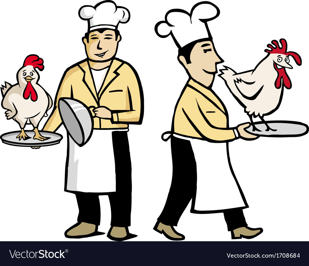 Chef with chiken vector | Price: 1 Credit (USD $1)