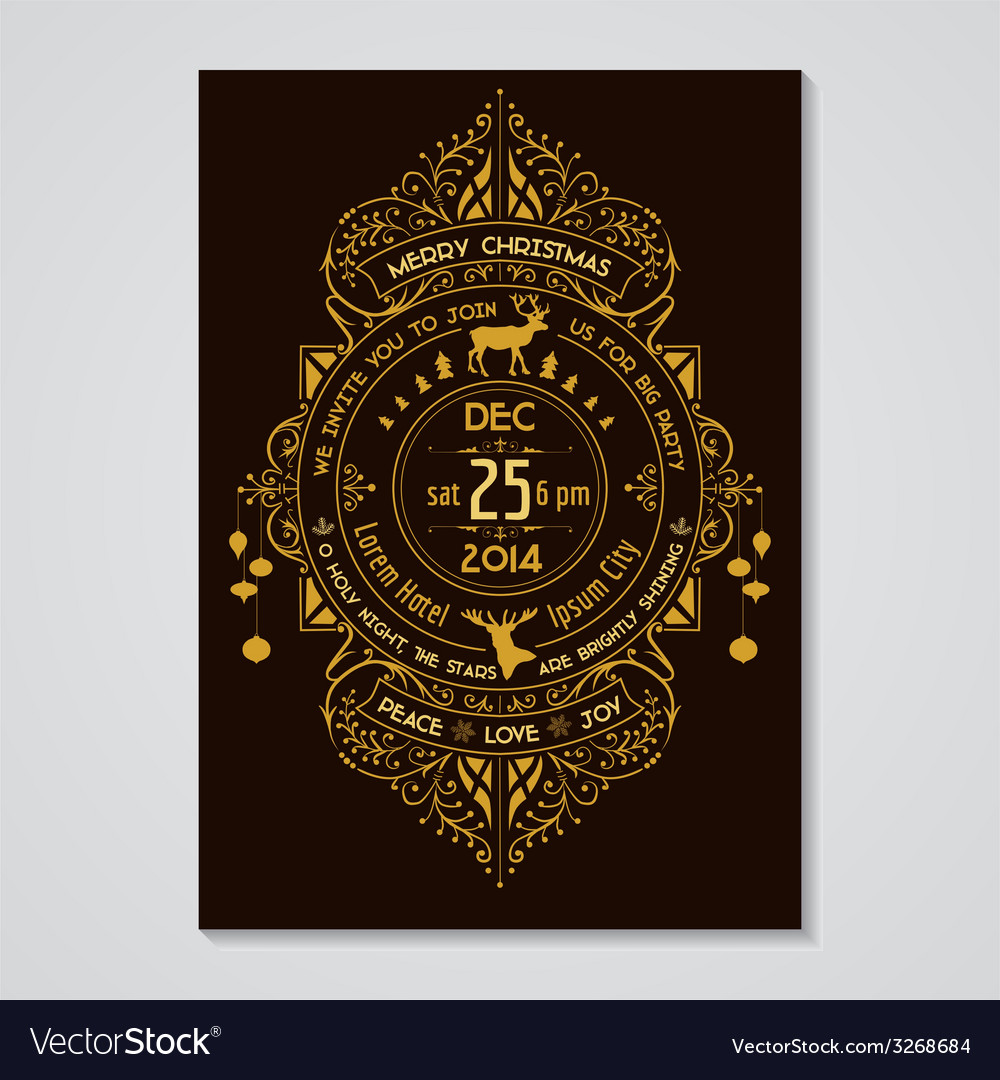 Christmas invitation card - art deco style vector | Price: 1 Credit (USD $1)