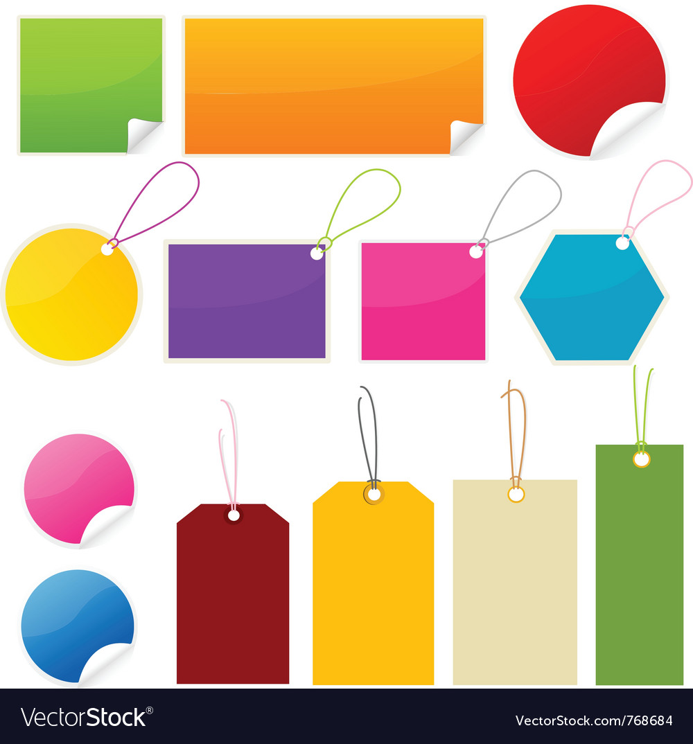 Colorful tags and stickers vector | Price: 1 Credit (USD $1)