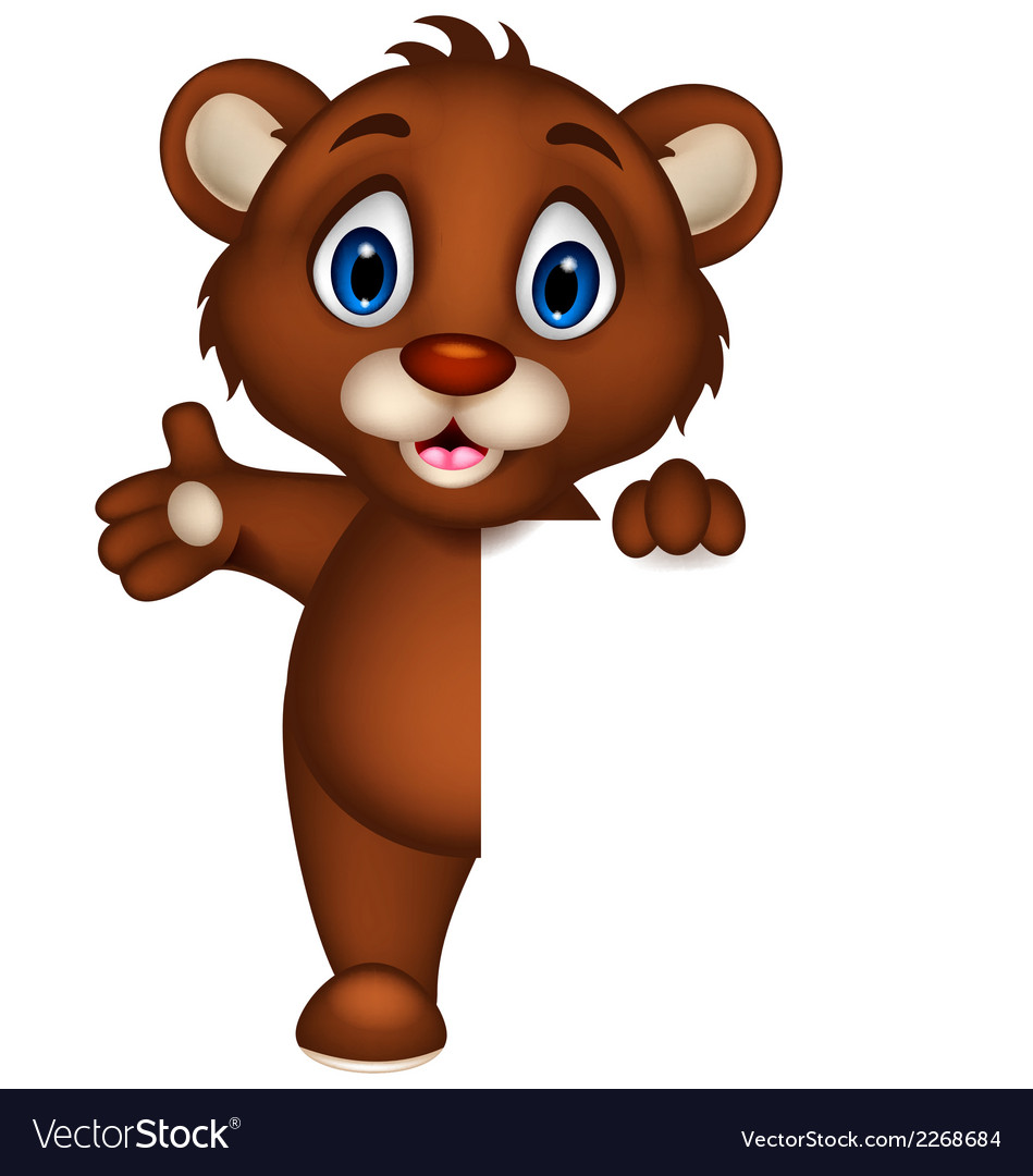 Cute baby brown bear cartoon posing with blank sig vector | Price: 1 Credit (USD $1)