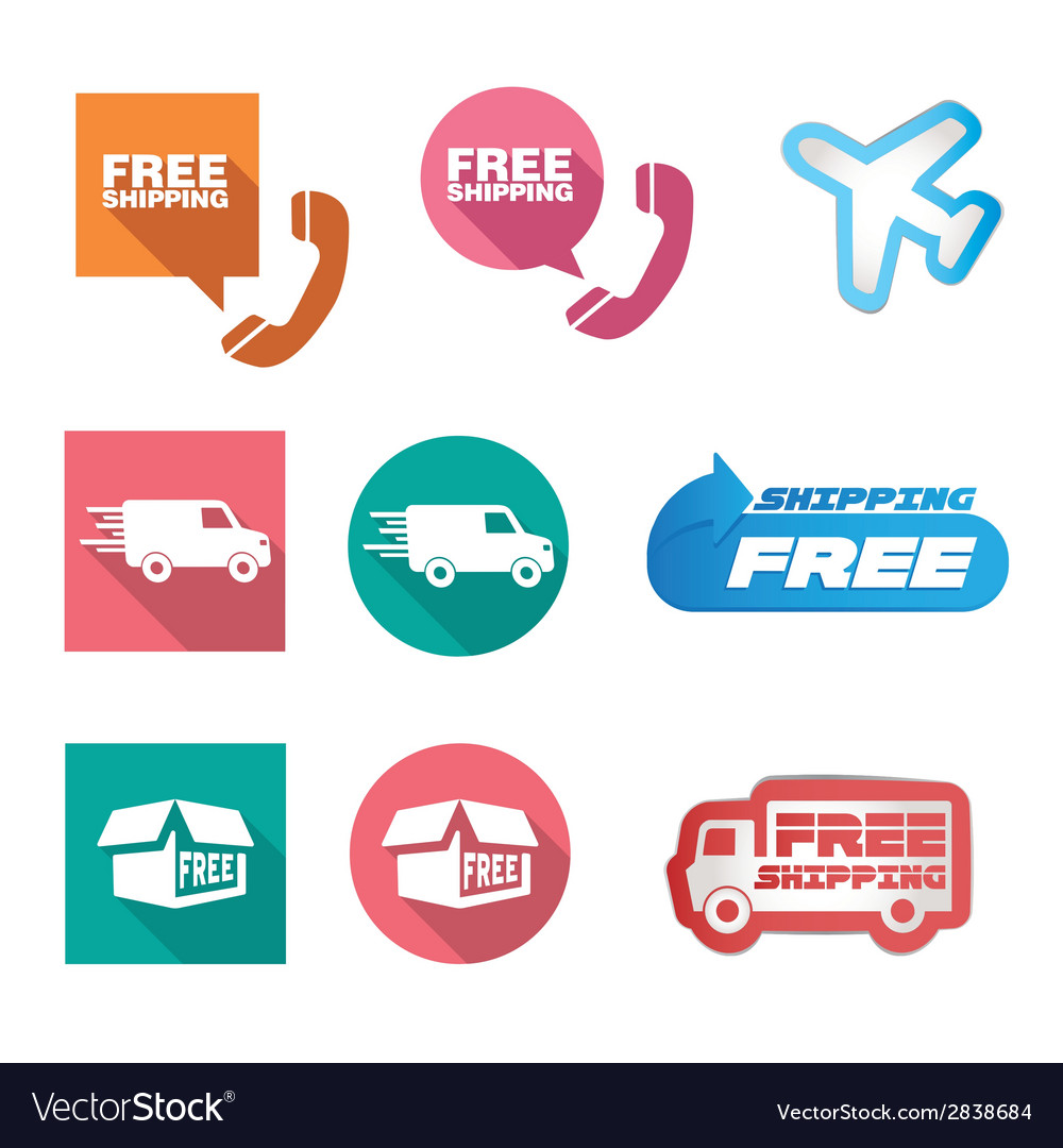 Free shipping icons and buttons pack vector | Price: 1 Credit (USD $1)