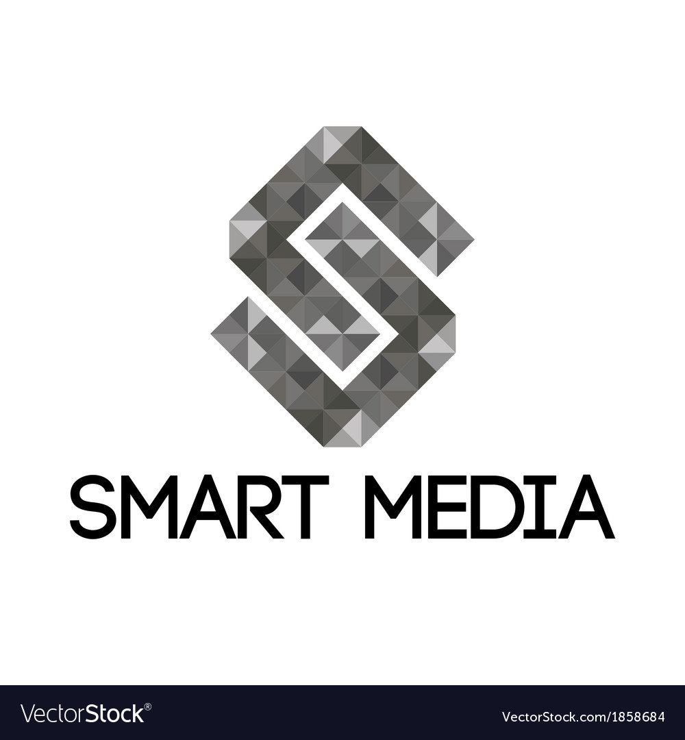 Grey smart media logo vector | Price: 1 Credit (USD $1)