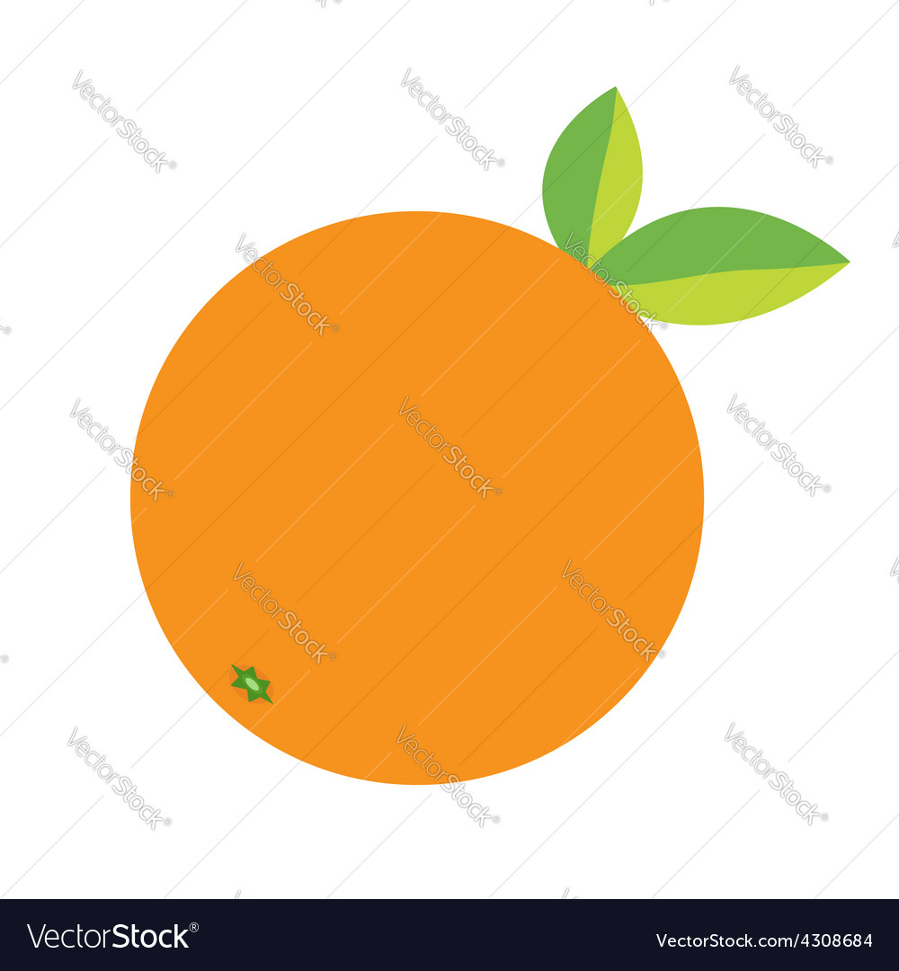 Orange fruit icon with leaf healthy lifestyle vector | Price: 1 Credit (USD $1)
