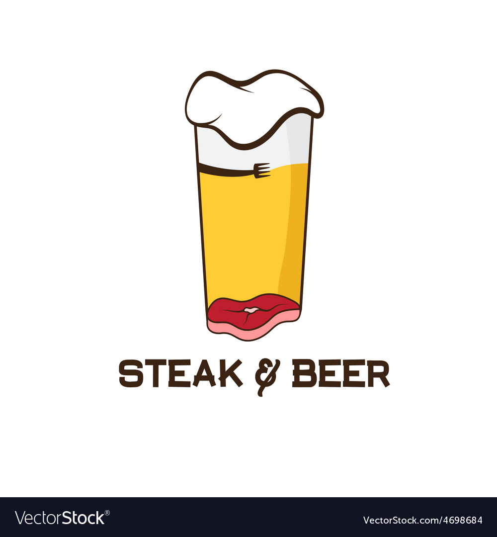 Steak and glass of beer design template vector | Price: 1 Credit (USD $1)