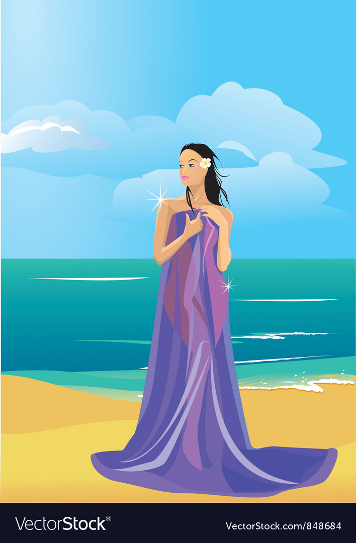 Wrapped in a towel on beach vector | Price: 1 Credit (USD $1)