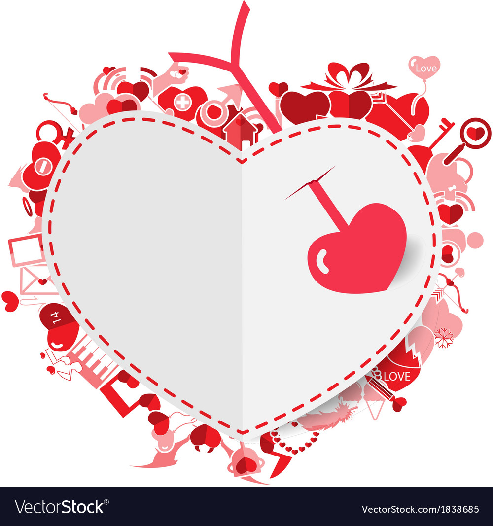 Arrow and heart red valentines day vector | Price: 1 Credit (USD $1)