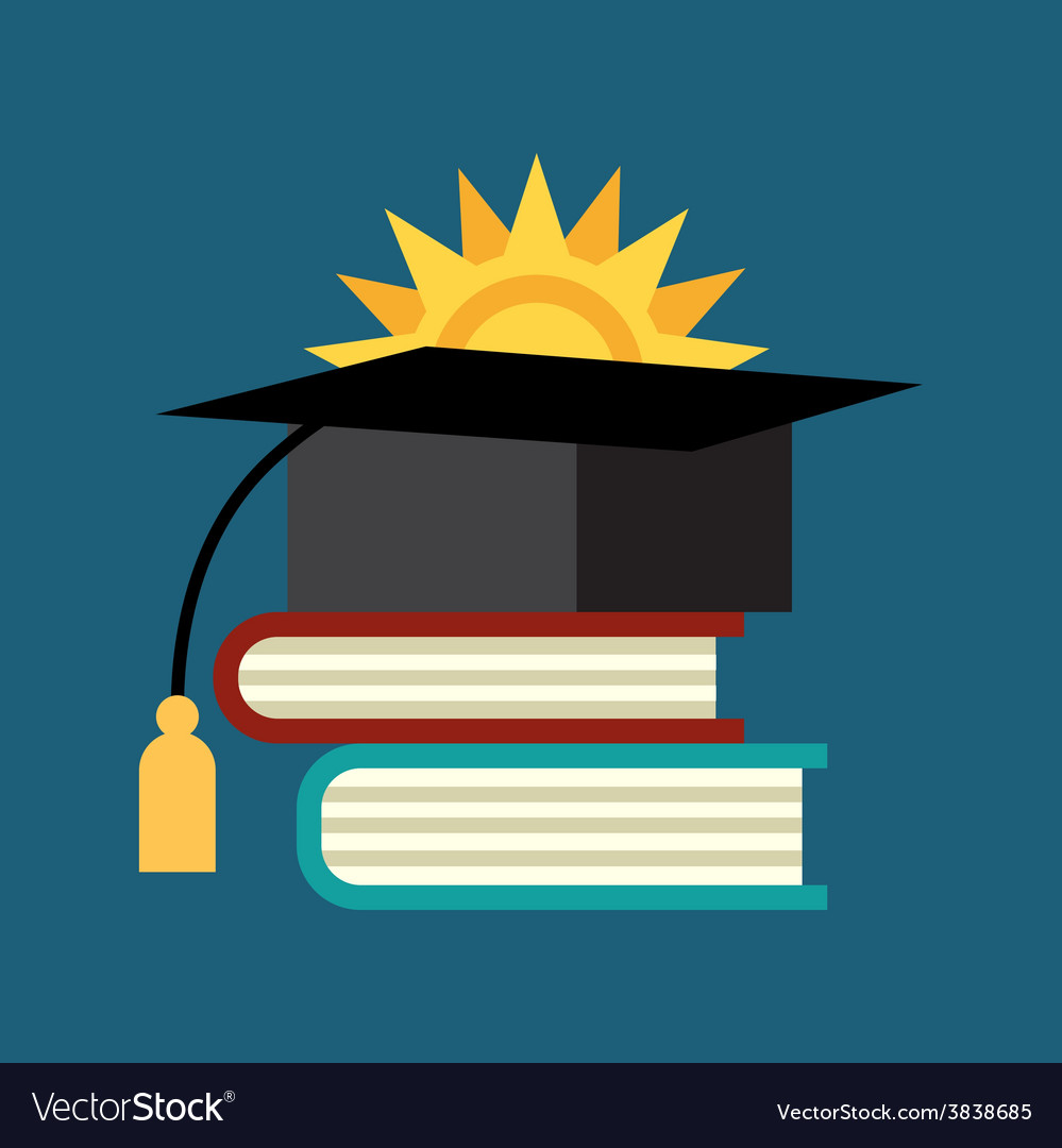 Books with the graduate cap vector | Price: 1 Credit (USD $1)