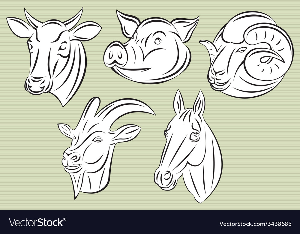 Collection of heads animals for design vector | Price: 1 Credit (USD $1)