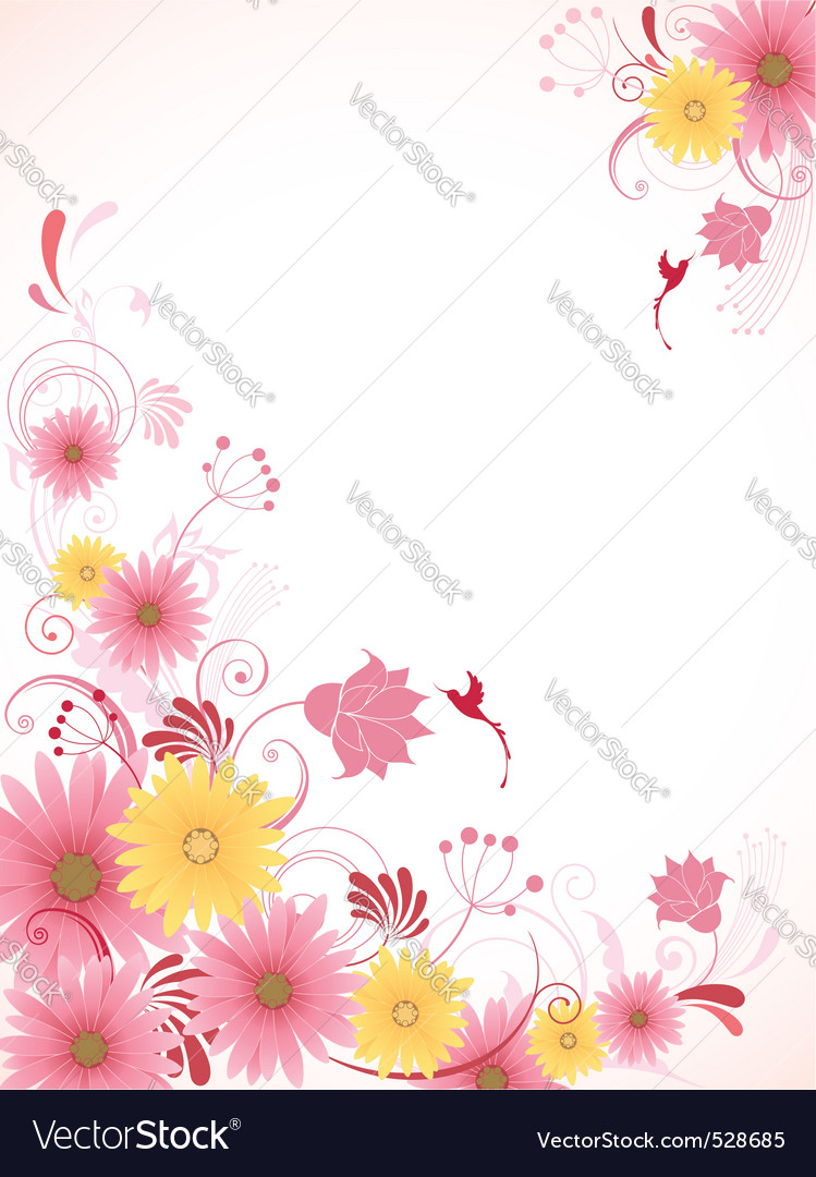 Floral background with pink flowers vector | Price: 1 Credit (USD $1)