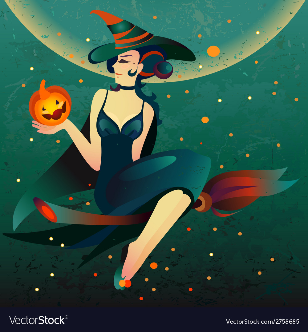 Halloween witch on a broomstick vector | Price: 1 Credit (USD $1)