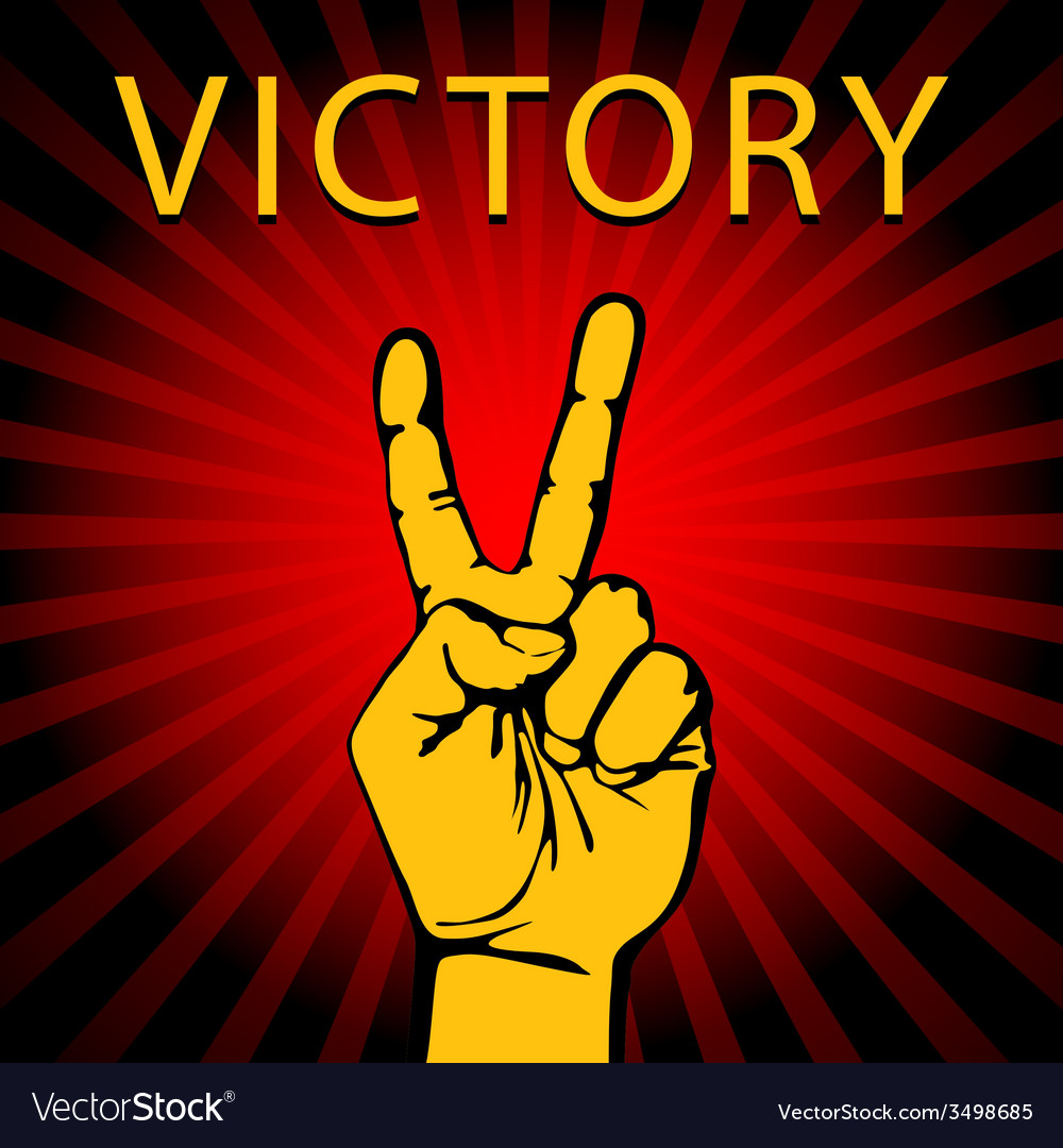Hand with victory sign vector | Price: 1 Credit (USD $1)
