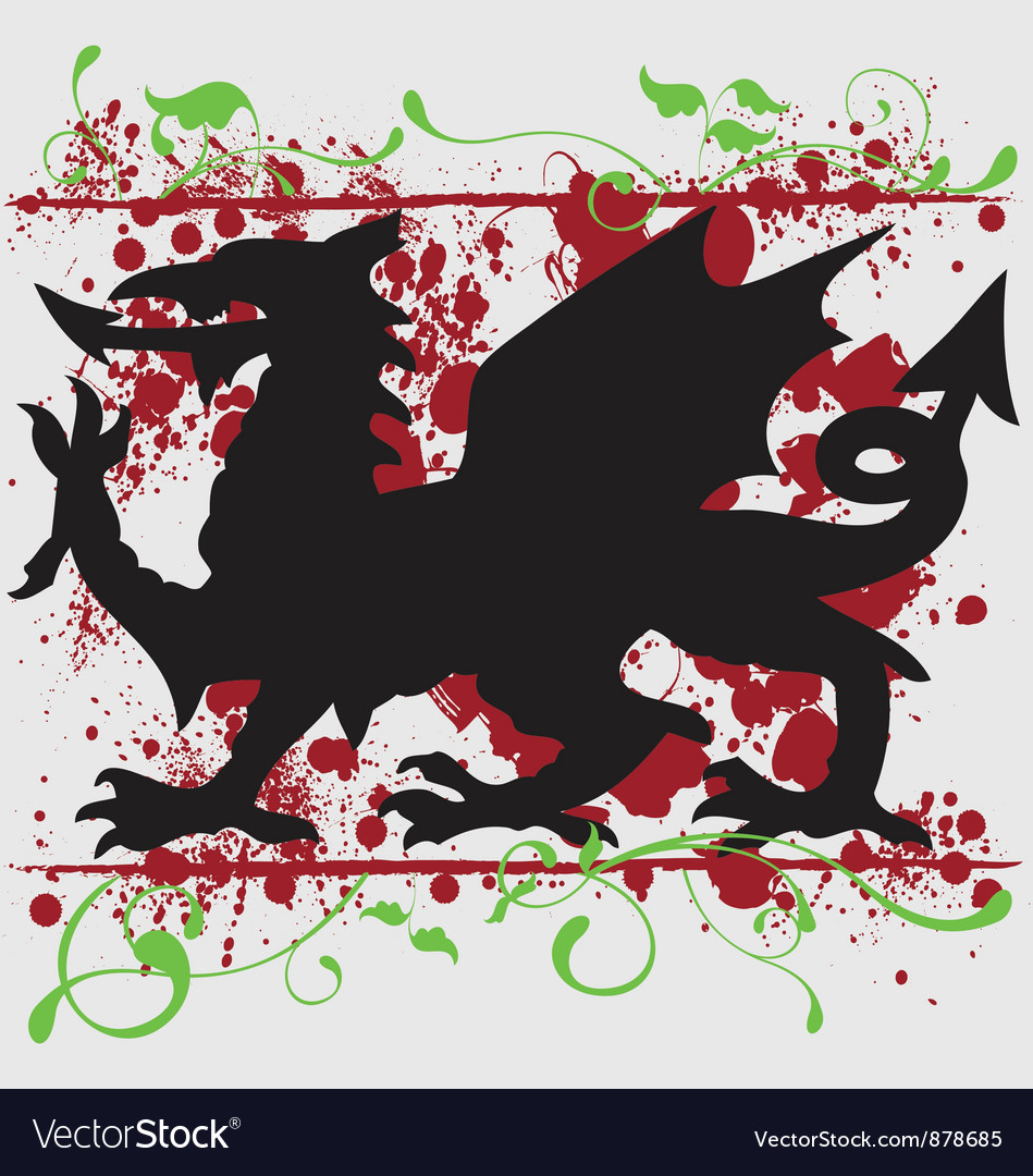 Heraldic welsh dragon design vector | Price: 1 Credit (USD $1)