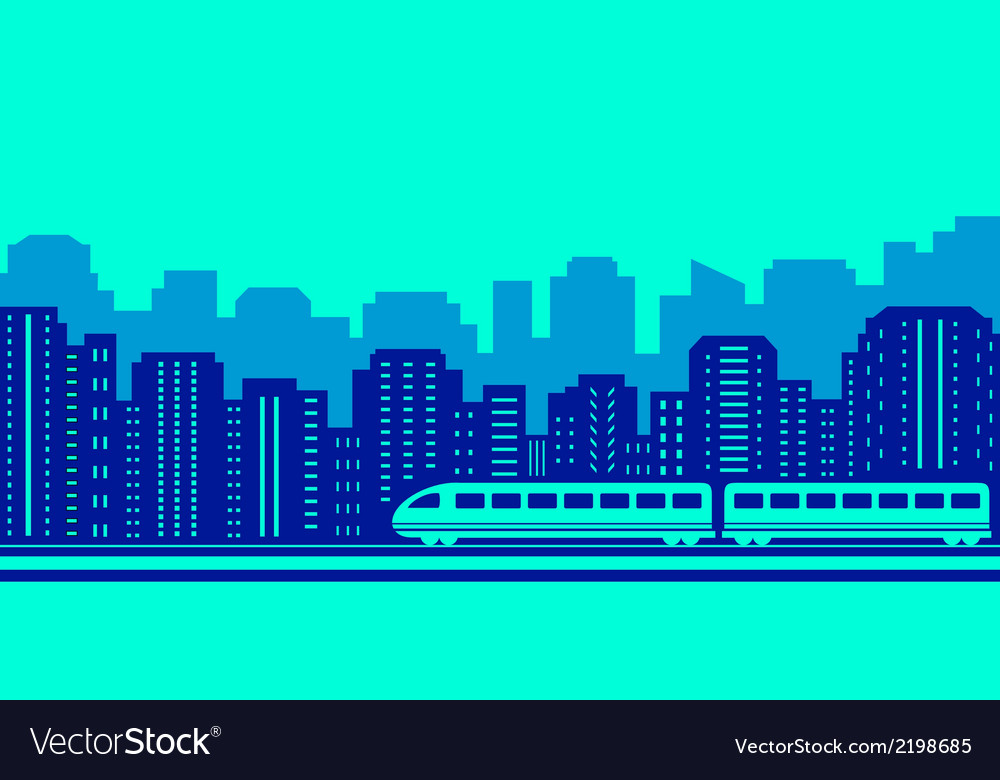 Moving train on blue urban landscaping vector | Price: 1 Credit (USD $1)