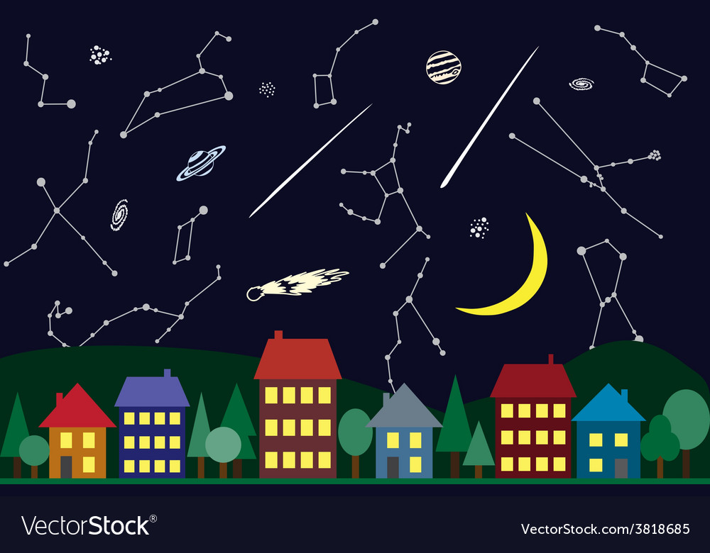 Night sky above the city vector | Price: 1 Credit (USD $1)