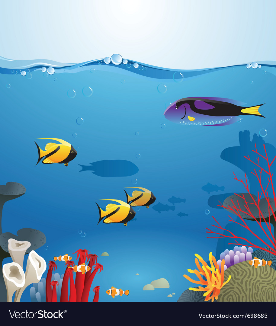 Sea landscape illustrating underwater life vector | Price: 3 Credit (USD $3)