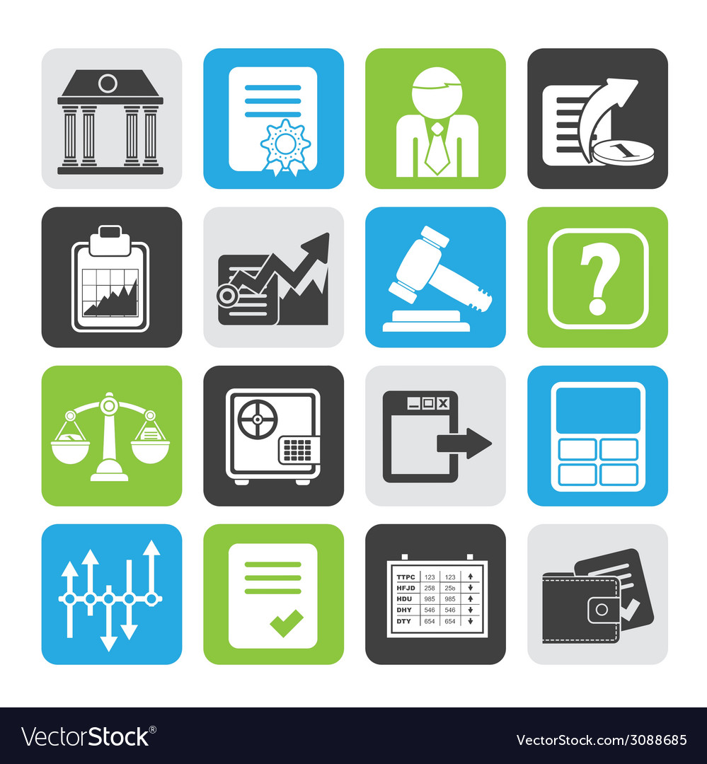 Silhouette stock exchange and finance icons vector | Price: 1 Credit (USD $1)