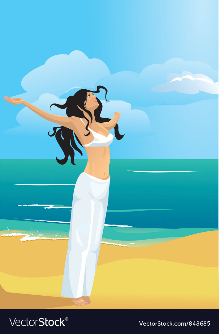 Strong woman on beach vector | Price: 3 Credit (USD $3)