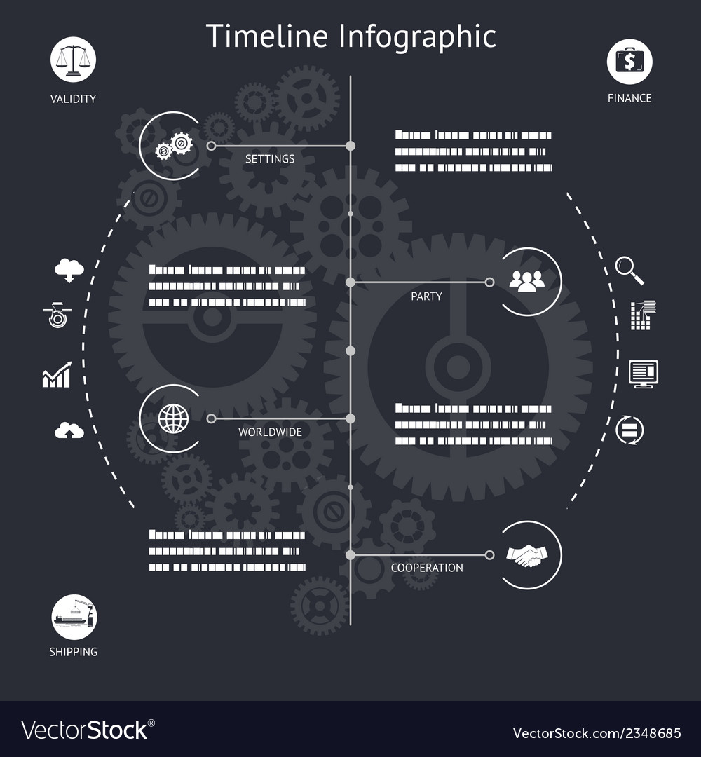 Timeline infographics elements symbols and icons vector | Price: 1 Credit (USD $1)
