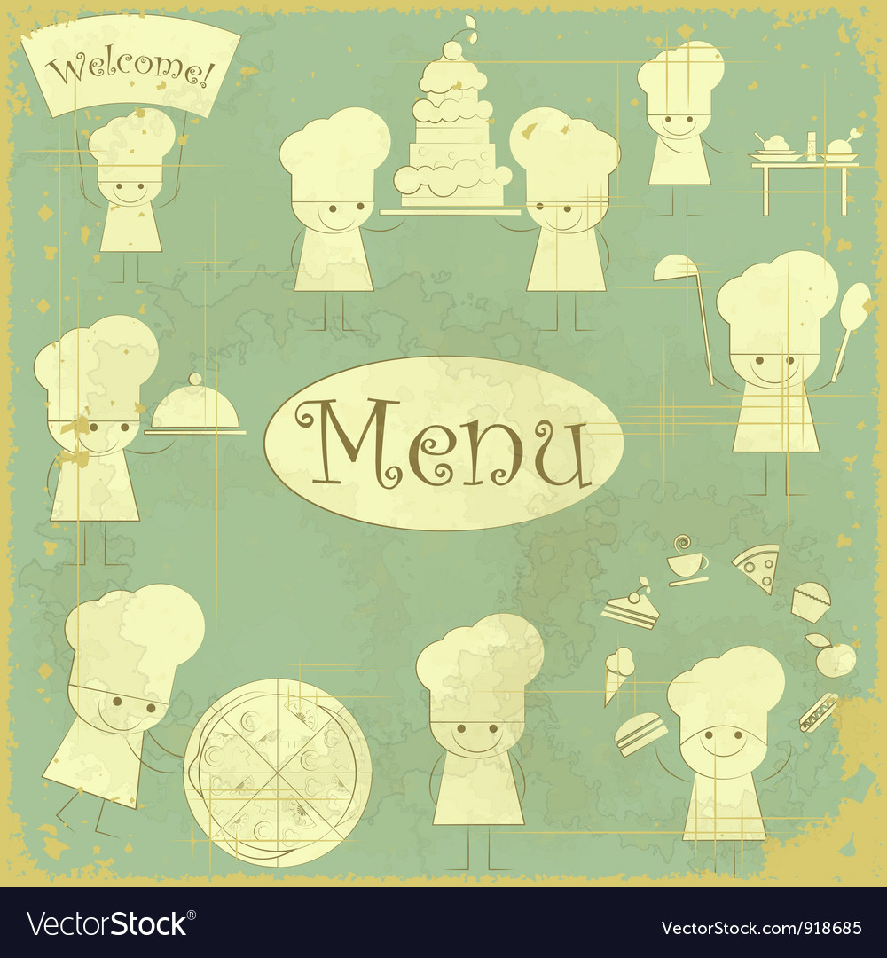 Vintage cover menu with chefs vector | Price: 1 Credit (USD $1)
