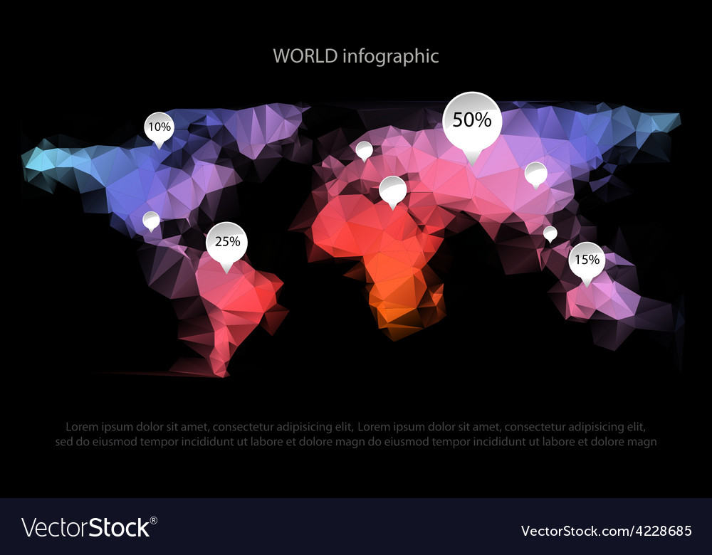 World map infographic vector | Price: 1 Credit (USD $1)