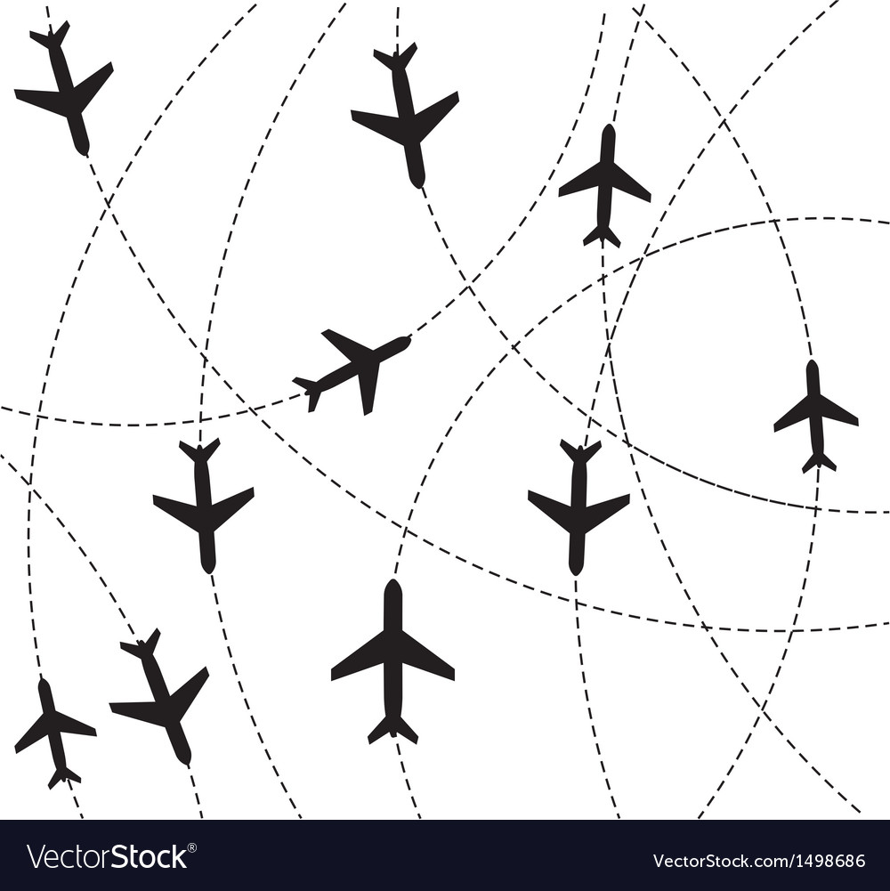 Airplane destination routes vector | Price: 1 Credit (USD $1)